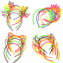 3 Pcs/lot Solid Neon Cat Ear Candy Color Acrylic Girls' Hairbands Kids Headwear Children Accessories