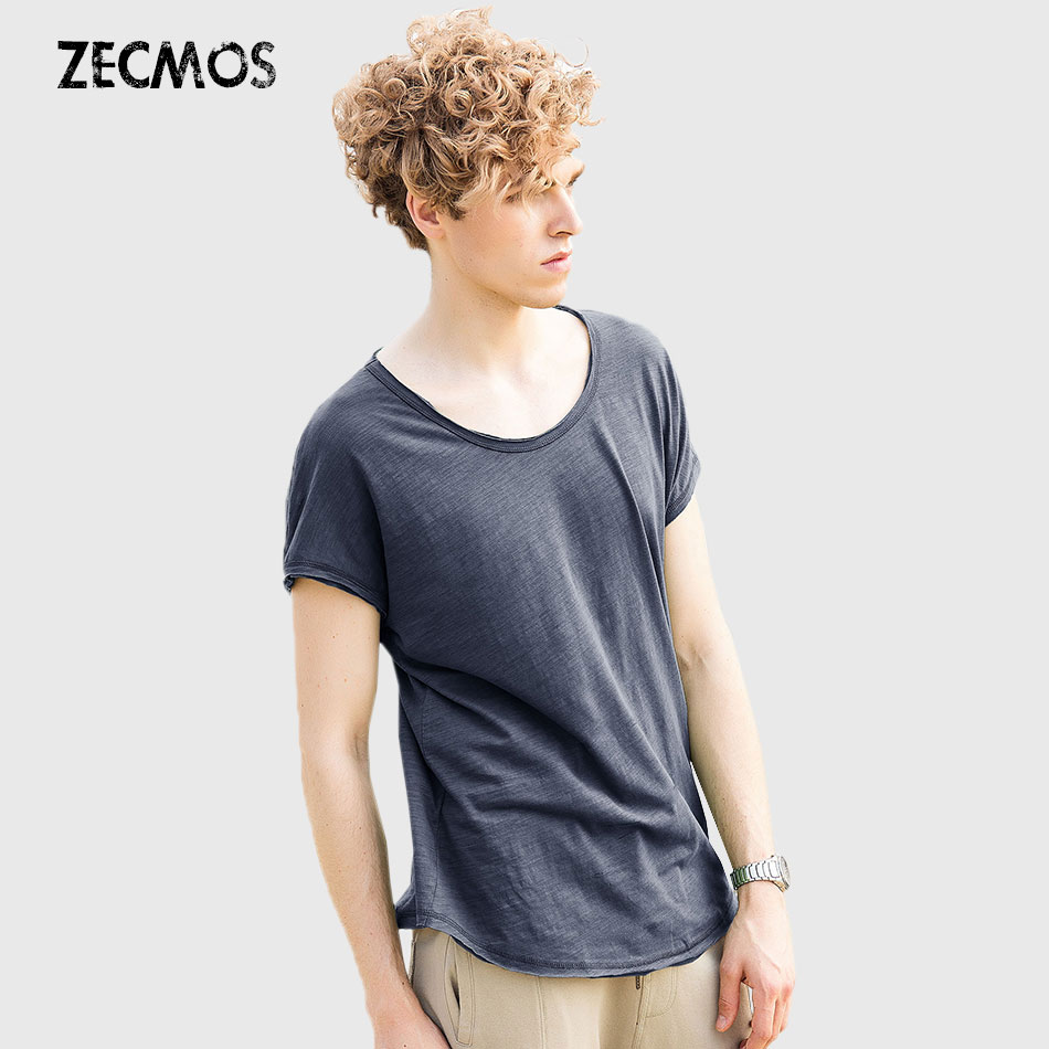 Cool Summer Men T Shirt Round Neck Ripped Tee Shirts Krótki rękaw Batwing Top Zwykły Solidny Fashion męski