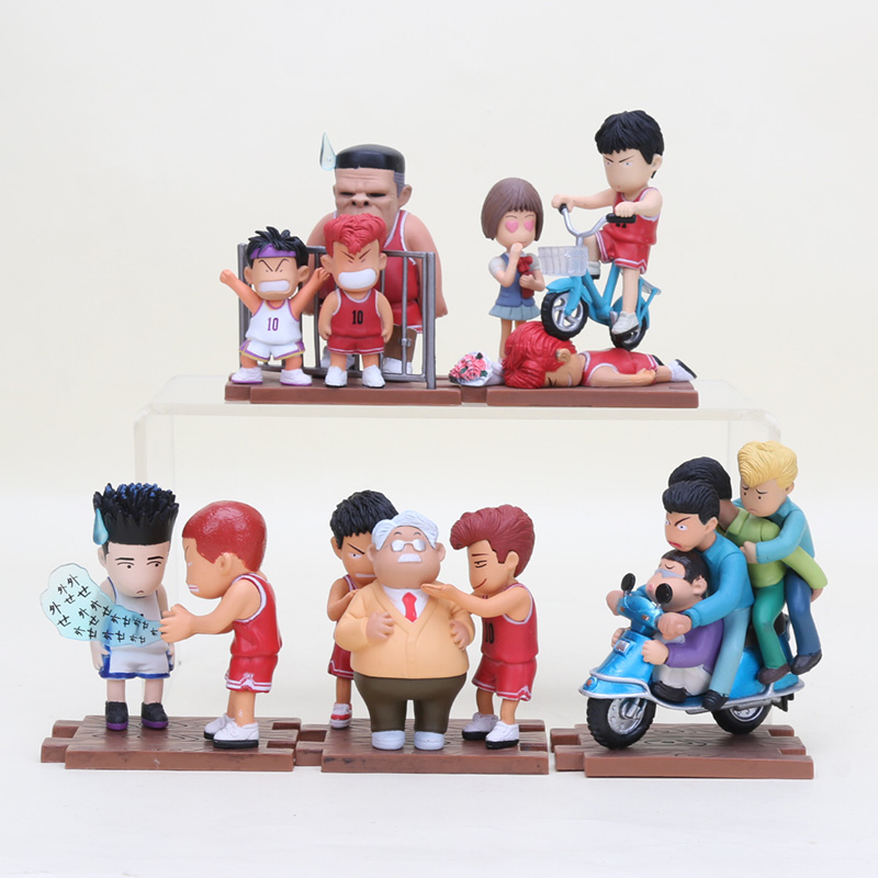 5pcs lot Anime Cartoon Slam Dunk Action Figures Brinquedos Sakuragi Hanamichi Rukawa Kaede PVC figure Collectible