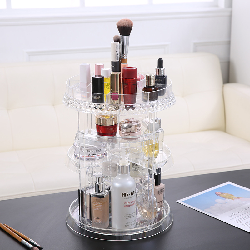 Clear Acrylic Makeup Organizer 360 Rotating Cosmetic Storage Box Plastic Container Make Up Case Jewelry Brush