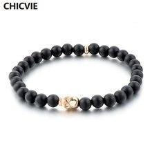 Chicvie 6 мм бусины черный череп из природного камня браслеты