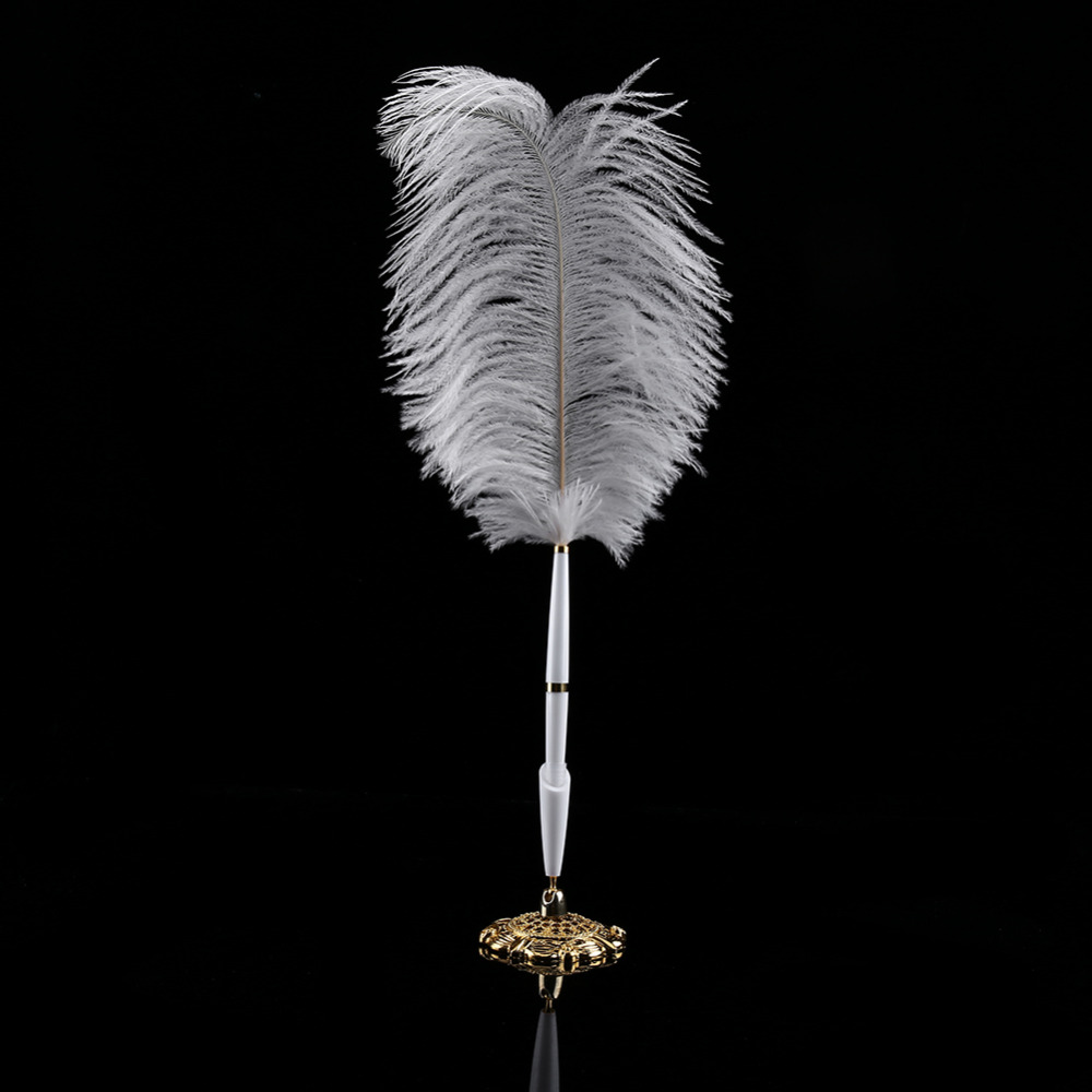 Feather Quill Ballpoint Pen Wedding Signing Pen Artificial Feather Ballpoint Pen Retro Quill Pen for Home Wedding Decoration Stage Performance Props Rose