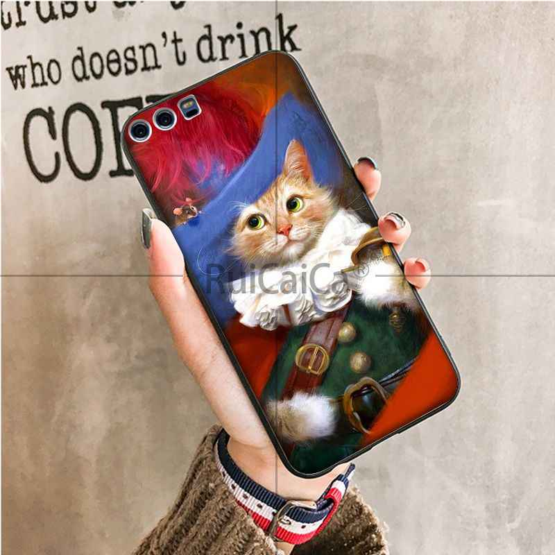 Ruicaica الشهيرة اللوحة البرتقال القط الأسود بولي TPU لينة سيليكون غطاء الهاتف لهواوي P9 P 10 زائد P20 P20 برو الشرف 9 10 غطاء