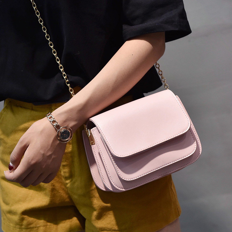 2018 European and American fashion small square bag multilayer women's handbags shoulder bag with chain crossbody bags for girls 5