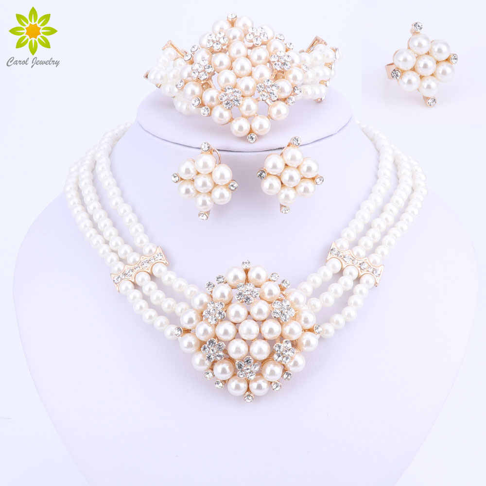 2017 New Fashion Imitation Pearl Dubai Gold-color Necklace set African Beads Costume Acessories Bridal wedding Jewelry Sets