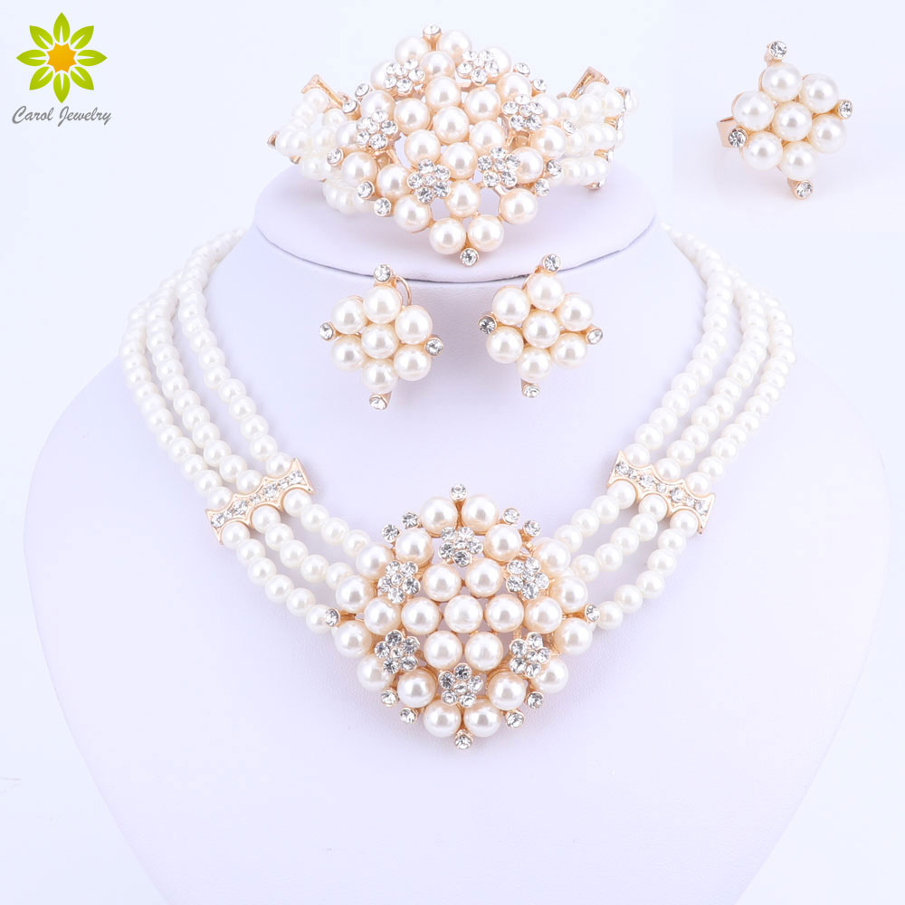 2017 New Fashion Imitation Pearl Dubai Goldcolor Necklace Set African  Beads Costume Acessories Bridal