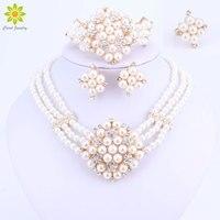 2017 Nueva Moda Perlas de Imitación de Oro Dubai-color Collar de Perlas Africanas set Costume Acessorios boda Nupcial Conjuntos de Joyas