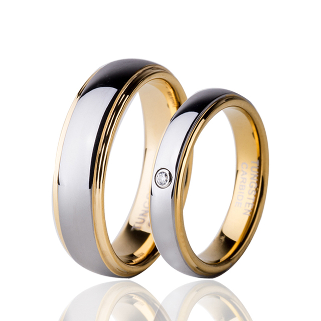 0b91d181494d0 Gold Color Cubic Zircon Tungsten Couple Ring Set For Lover's Jewelry  Alliance Anillos 4mm for Women
