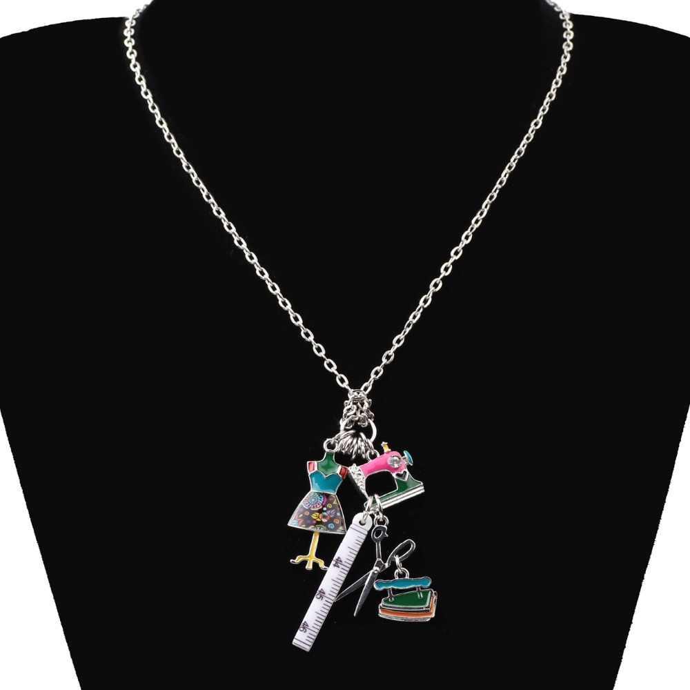 Bonsny себе цепи Эмаль портной Вышивание машины Ножницы линейка одежды стенд Цепочки и ожерелья Подвески Модные украшения для Для женщин