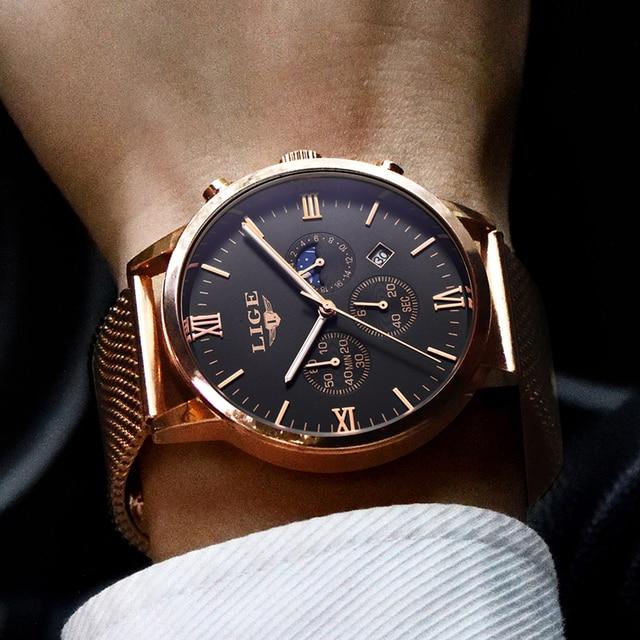 Top Luxury Business Gold Quartz Casual Mesh Steel Waterproof Sport Watch for men 1