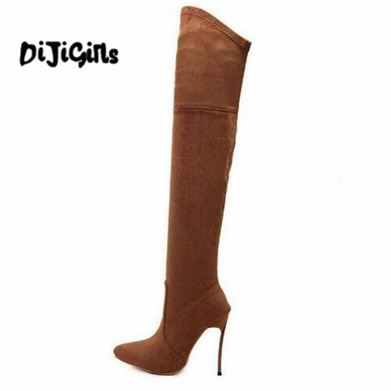 Femmes Hiver marron Cuisse Hauts Bottes Mode Sapatos Talons Stretch Genou Femme Slim Le Beige Chaussures 2018 Sur Haute black Automne De E5tqwYYR