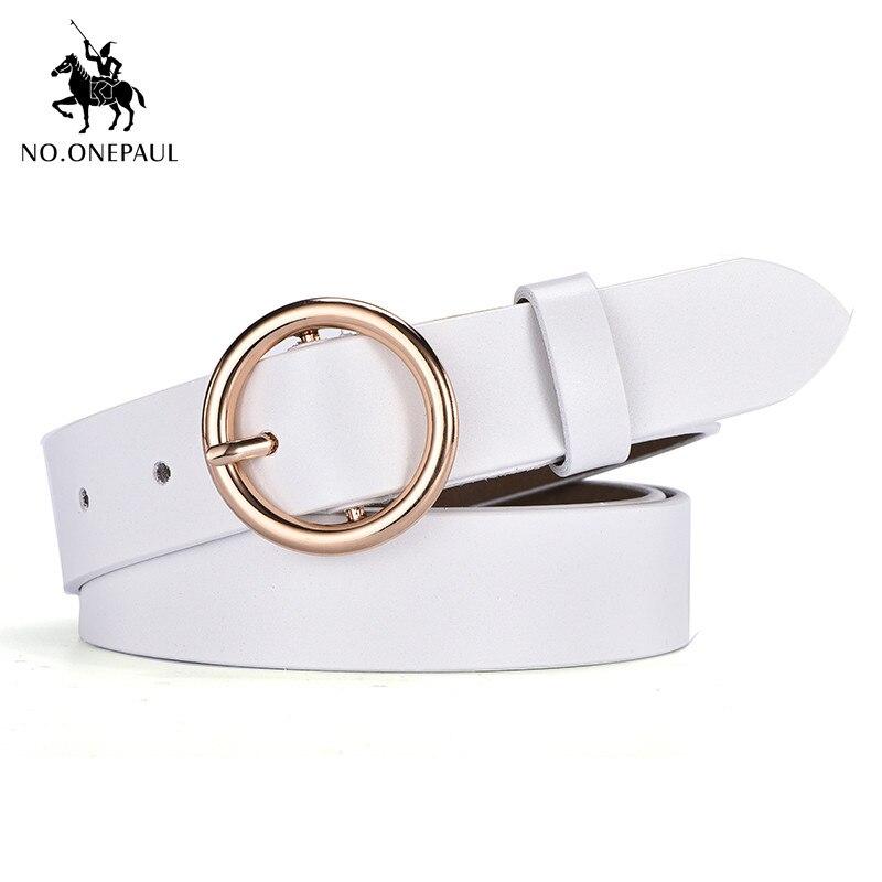 NO. ONEPAUL Дамский кожаный ремень аксессуары хипстерские повседневные пряжки украшение Модный популярный винтажный сплав с круглой пряжкой - Цвет: YQ01 white gold
