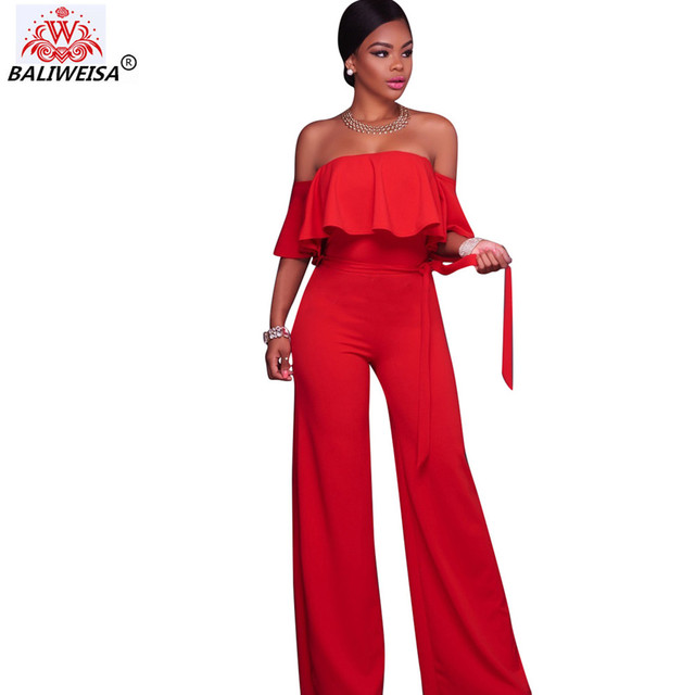 59ec5866e224 BALIWEISA Off Shoulder Solid Color Ladies Jumpsuits Elegant Ruffle  Strapless Belt Rompers Women High Waist Wide
