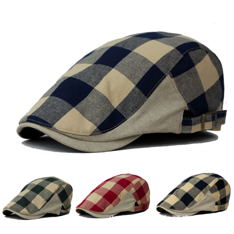 6f064617f77 Unisex Cotton Linen Blended Berets Hat Men Plaid Summer Style Fashion  Personality Tide Retro Wind Female Visors Cap Hat-in Berets from Apparel  Accessories ...