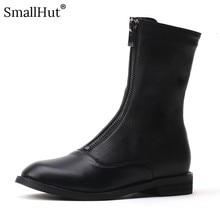 Low Heel Mid-Calf Boots Women Autumn PU Ladies Front Zipper Square Heels D085 Fashion Woman Black White Round Toe Riding Boots все цены