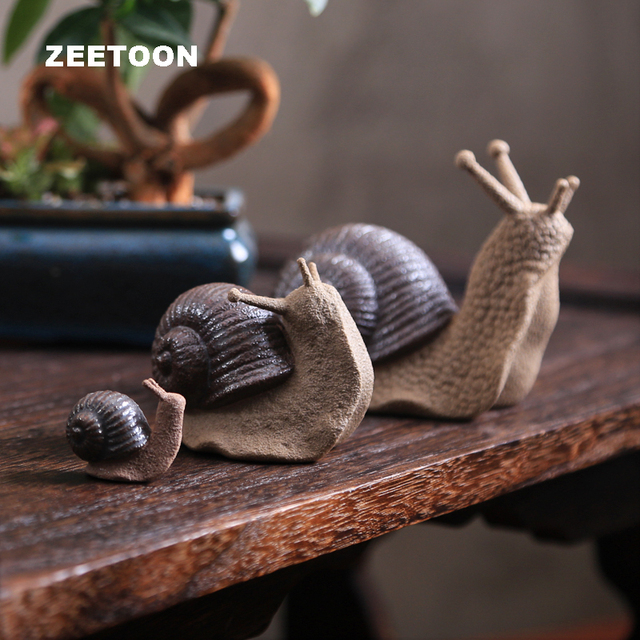 Zen Coarse Pottery Lovely Tea Pet Snails To Explore Thinking Creative Ceramics Kung Fu Tea Crafts Ornament Potted Home Decor New