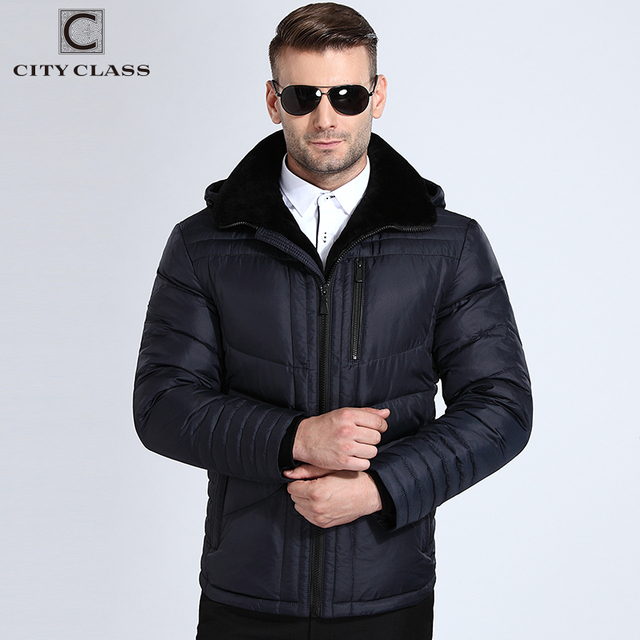 City Class Winter Jackets Men Warm Hooded Bio Down Jacket Lamb Fur Collar Slim Fit Dark Blue Fashion Business Coats 17803