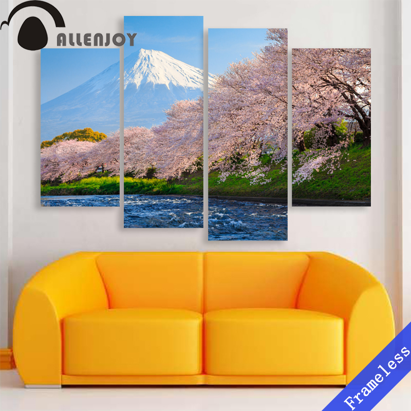 4 pieces japan cherry blossoms mount fuji modern wall art for House decoration pieces