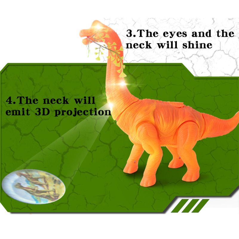 Electric Walking Lay Eggs with Sound Animals Model 3D Projection Jurassic Dinosaurs Brachiosaurus Kids Baby Toys Christmas Gift