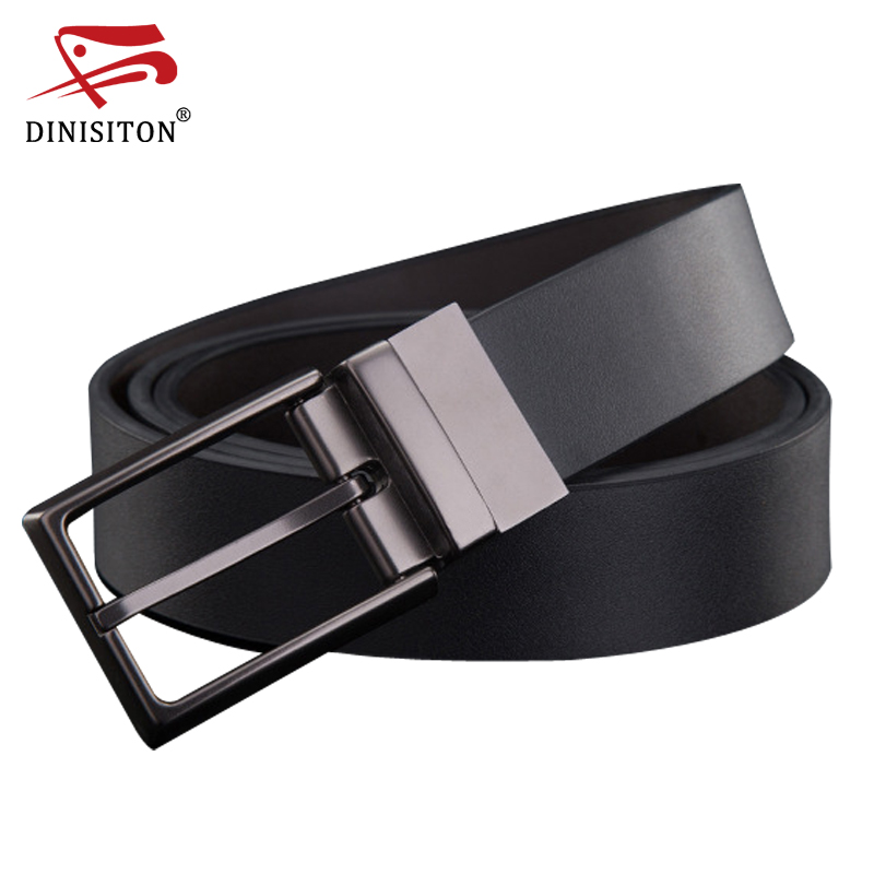 DINISITON Mode Designer Pin Buckle Äkta Läder Män Bälten Luxury För Män Brand Fritid Business belt gåva ceinture