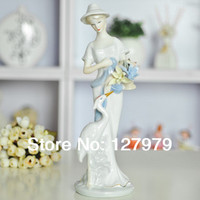 on sale! Modern home furnishing statue, ceramic crafts statue, Fine, white crane and Fairy, porcelain figurines, free shipping!