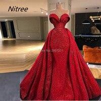 Red Shining Sexy Mermaid Evening Dresses Custom Made Sweetheart Neck Sleeveless Beads Elegant Prom Gowns Arabic Vestido De Festa