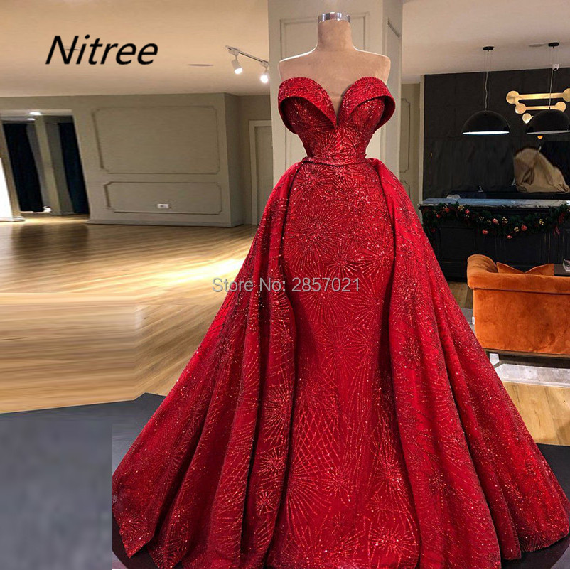 Red Shining Sexy Mermaid   Evening     Dresses   Custom Made Sweetheart Neck Sleeveless Beads Elegant Prom Gowns Arabic Vestido De Festa