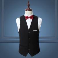 Pure Color Men's Suits Vests Fashion Business Wedding Banquet Suit Vest Men Slim Elegant Male Waistcoat Size S 6XL