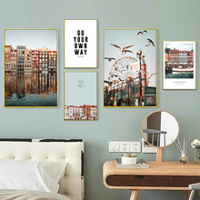 Building Sea Ferris Wheel Bird Landscape Wall Art Canvas Painting Nordic Posters And Prints Pictures For Living Room Decor