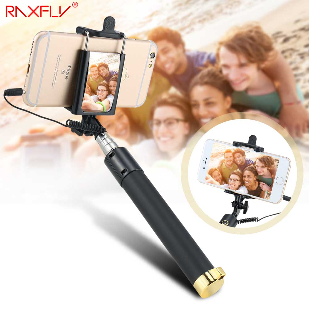 RAXFLY Universal Selfie Stick For iPhone 6 6S Plus Samsung S8 Xiaomi Wire Handheld Monopod Extendable Mini Portable With Mirror