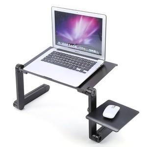 Image 1 - Портативный складной алюминиевый ноутбук стол настольный лоток для мыши 480x260 мм инструменты для ПК 360 градусов вращающийся