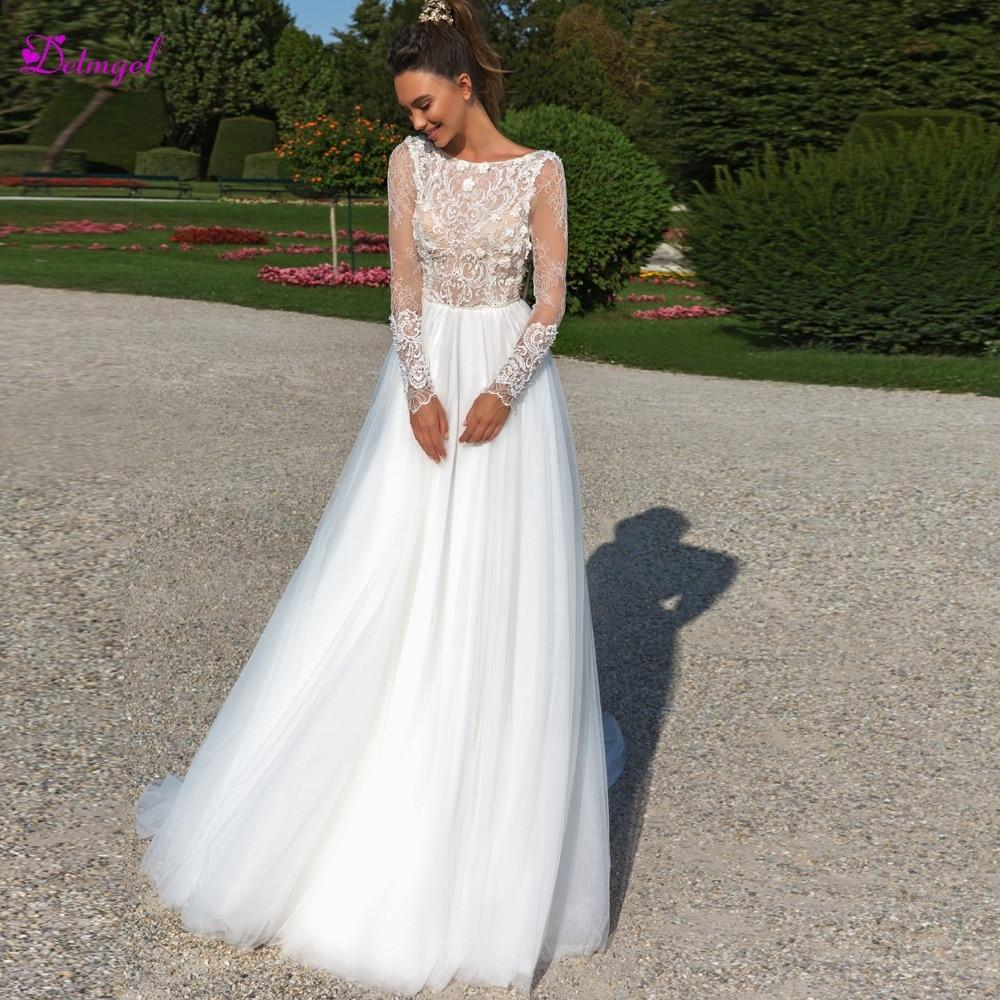 Detmgel Sexy dos nu Appliques à manches longues a-ligne robes de mariée 2019 luxe perlée encolure dégagée bohème robe de mariée grande taille