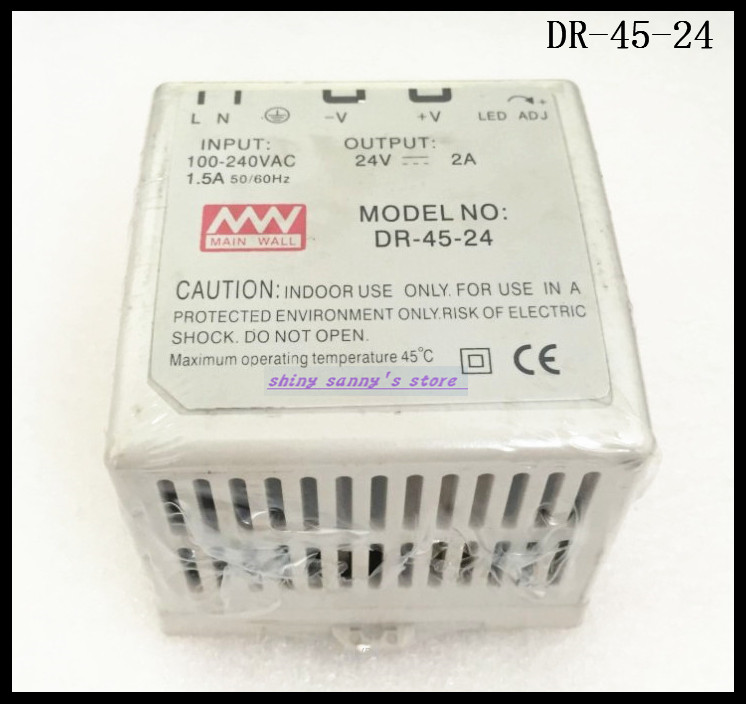1Pcs DR-45-24 45W 24V 2A Ac Dc Converter Din Rail Single Output Switching Power Supply Brand New 45