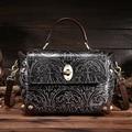 100% Couro Genuíno Das Mulheres Marca De Luxo Bolsa de Ombro Fêmea Do Vintage Em Relevo Flor Bolsa Das Senhoras Casuais Sacos com Bloqueio Rebite