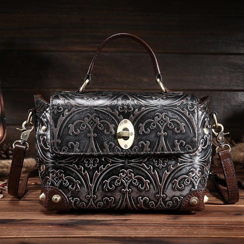 100% Genuine Leather Women Luxury Brand Shoulder Bag Female Vintage Embossed Flo