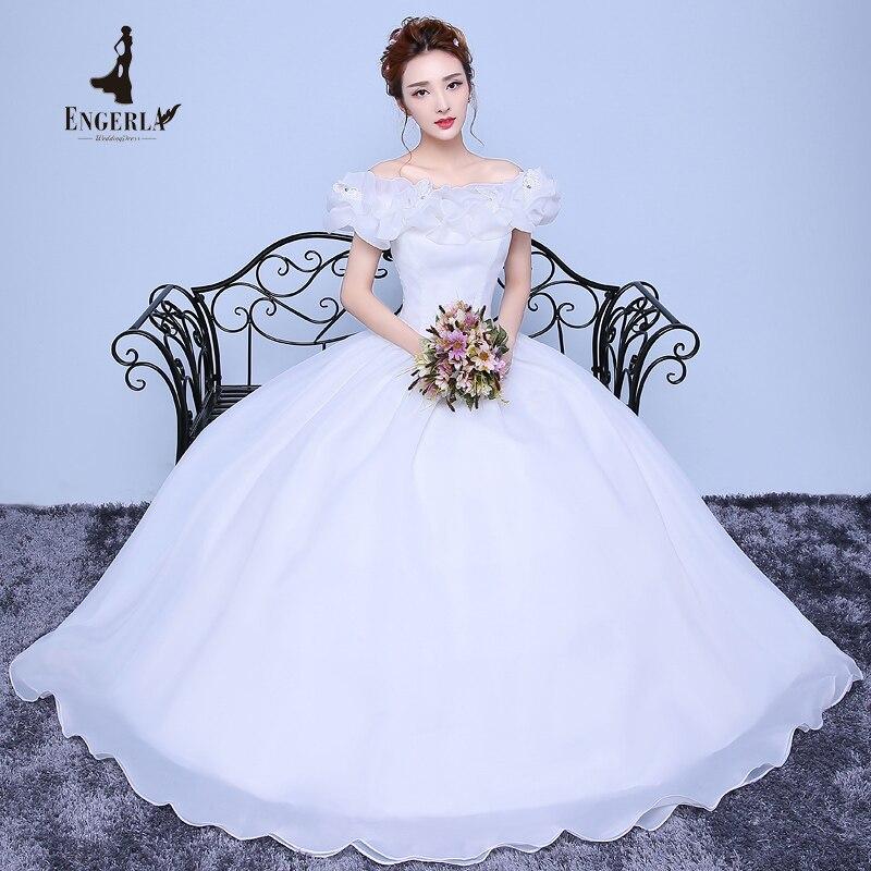 Lamya Boat Neck Puff Manga Corta Vintage Wedding Dress Lace Up Volver Elegante P