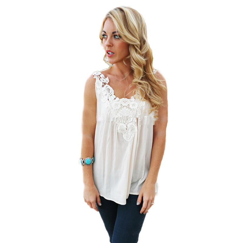 40 Blouses Feminine Clothing Fashion Lace Crochet Tops Women Shirt 2016 Summer Chiffon Sleeveless White Blusas Y Camisas Mujer
