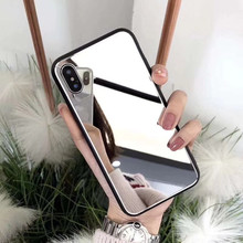 Mirror glass makeup phone case for iPhone X XS XR XSMax 8 7 6 6S PluS Creative personality silicone drop protection cover