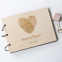 Custom Wedding Guest Book Wood Rustic Wedding Guest Book Album Bridal Shower Engagement Anniversary Fingerprint Heart