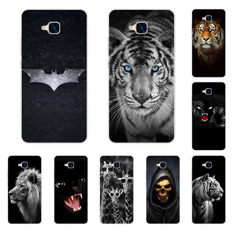 Huawei Honor 5c Case,Silicon Fierce Animals Painting Soft TPU Back Cover For Huawei Honor 5c Protect Phone Bags No Fingerprint