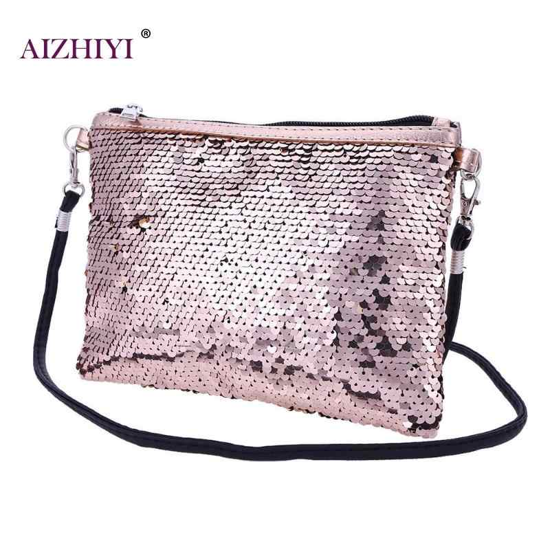 ... Women Gorgeous Shining Sequins Mini Crossbody Bag Fashion Handbags  Portable Clutch Ladies Evening Party Zipper Shoulder ... 7a5a72fda110