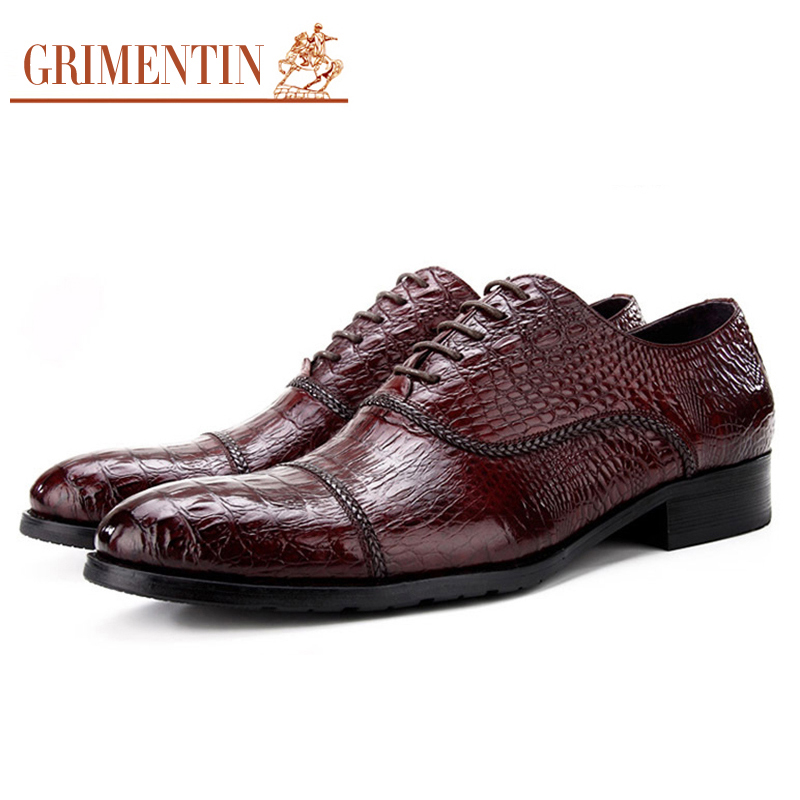 GRIMENTIN Men Leather Dress Shoes Crocodile Pattern Luxury Designer Formal Shoes Men Classic Elegant Office Oxfords size38-44 mycolen 2018 high quality business dress men shoes luxury designer crocodile pattern formal classic office wedding oxfords