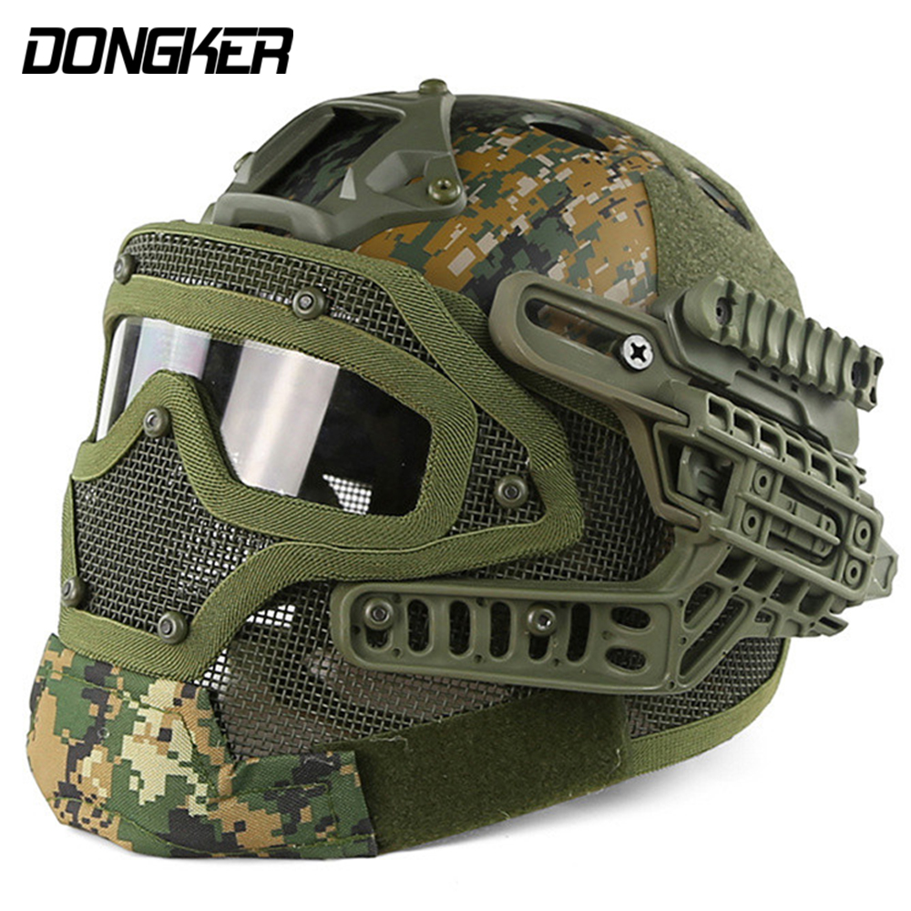Airsoft Helmet G4 System Tactical PJ Military Mesh Helmet Fullface Kask With Protective Goggle Face Mask for War Game sw5888 protective abs tactical cycling wild gaming helmet camouflage yellow black