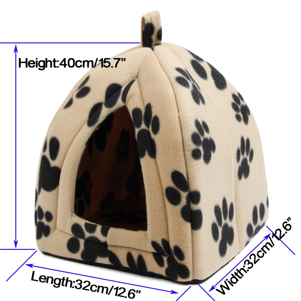 Cat Bed - Soft Fabric Cone Shape Bed/House - Cream with black paws