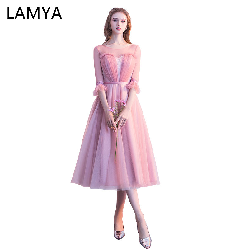 LAMYA Tea Length   Prom     Dresses   2018 Bride Banquet Elegant Evening Party   Dress   Short Sleeve Tulle vestido formatura