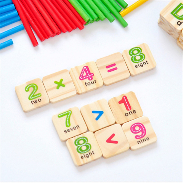 Children Wooden Numbers Mathematics Early Learning Counting Educational Toy Kids Children Math Toys Free Shipping