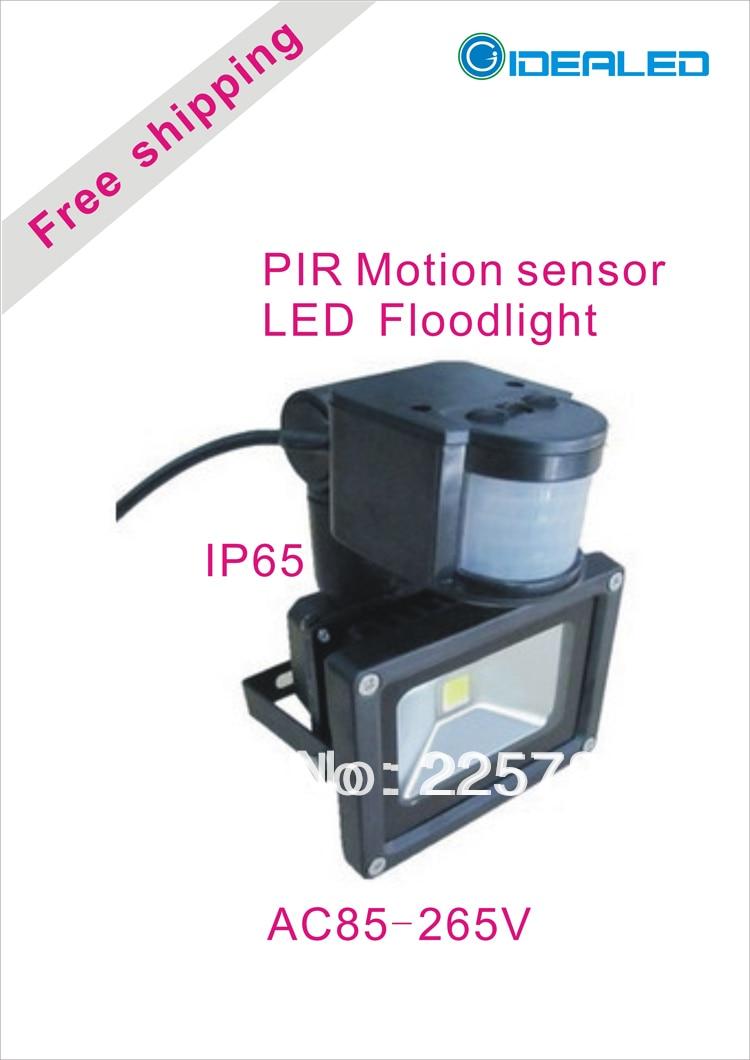 Free shipping COB LED Floodlight with PIR Motion sensor Induction Factory Outlet LED Landscape Lighting led floodlight pir motion sensor black ac85 260v