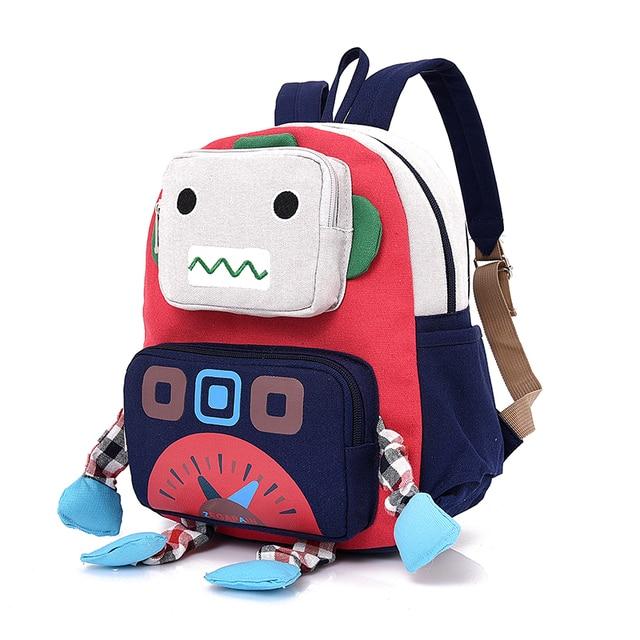 Children schoolbag Kids baby bag Kindergarten canvas Backpacks Cartoon  robot School Bags for girls boys Backpack 707360402ce9d