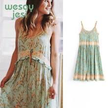 2019 spring summer dress women vestidos bohemian Turquoise print de fiesta party