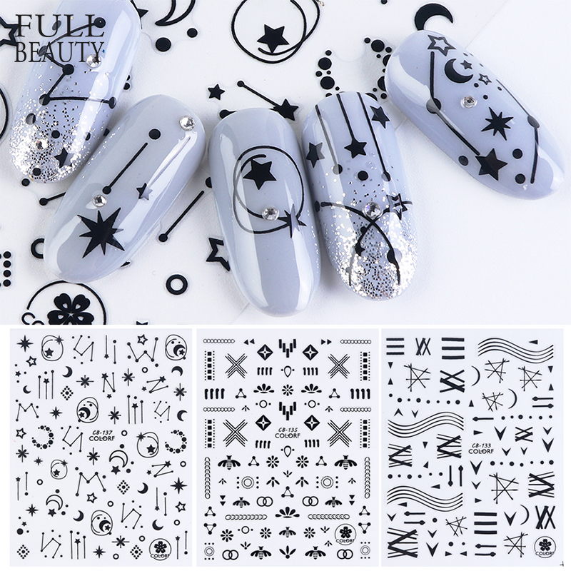 3D Stars Flower Decals Stickers for Nail Adhesive Wraps Black White Letter Nail Art Slider 3D Accessories Decoration CHCB133 141-in Stickers & Decals from Beauty & Health